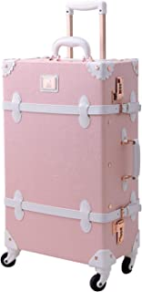 Vintage Rolling Luggage 20 inch Retro Carry on Suitcase with Spinner Wheels (Light Pink)