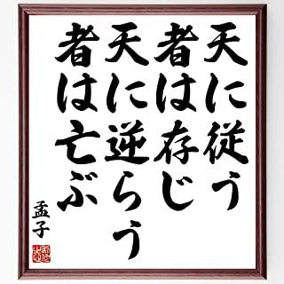 孟子の名言書道色紙「天に従う者は存じ、天に逆らう者は亡ぶ」額付き/受注後直筆(Z5740)