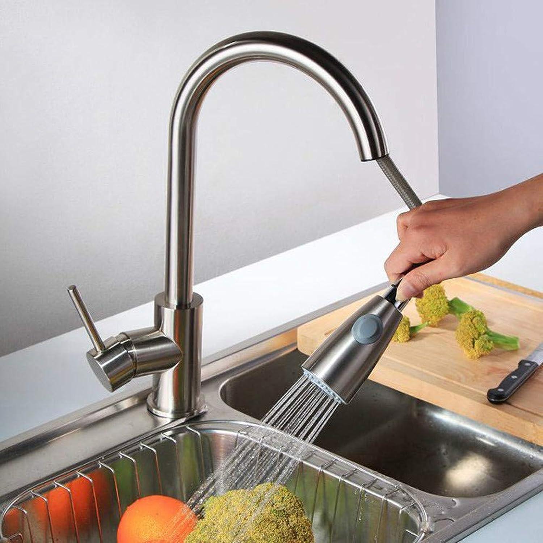 ZHUAPP Küche Pull-Typ-Wasserhahn Nickel Bürste 360 Rotierenden Spüle Wasserhahn Einhand-Hand Herausziehen Drehhahn Wasserhahn Schalter Heies Und Kaltes Wasser