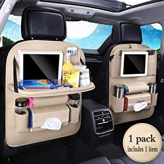 PU Leather Premium Car BackSeat Organizer Travel Accessories, BackSeat Car Organizer Seat Protector/Kick mats Back seat Protector and Cup Hold (1 Pack)