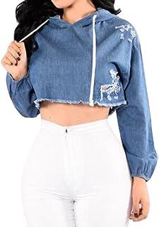Oberora Womens Long Sleeve Ripped Denim Crop Top Hoodie Sweatshirt Pullover Jacket