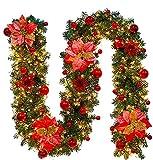 Faraone4w Guirlande de Noël, 2.7 m Noël Guirlande Artificiel Lumineuse De La Lampe LED Ornement Guirlande De Noël Décoration pour Arbre De Noël Porte Escalier Cheminée décorations de Noël
