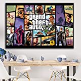 PCCASEWIND Grand Theft Auto V Game Poster GTA 5 Canvas Art Print Painting Wall Pictures para La Habitación Decoración del Hogar Decoración De La Pared (50X70Cm Sin Marco) Ad-568