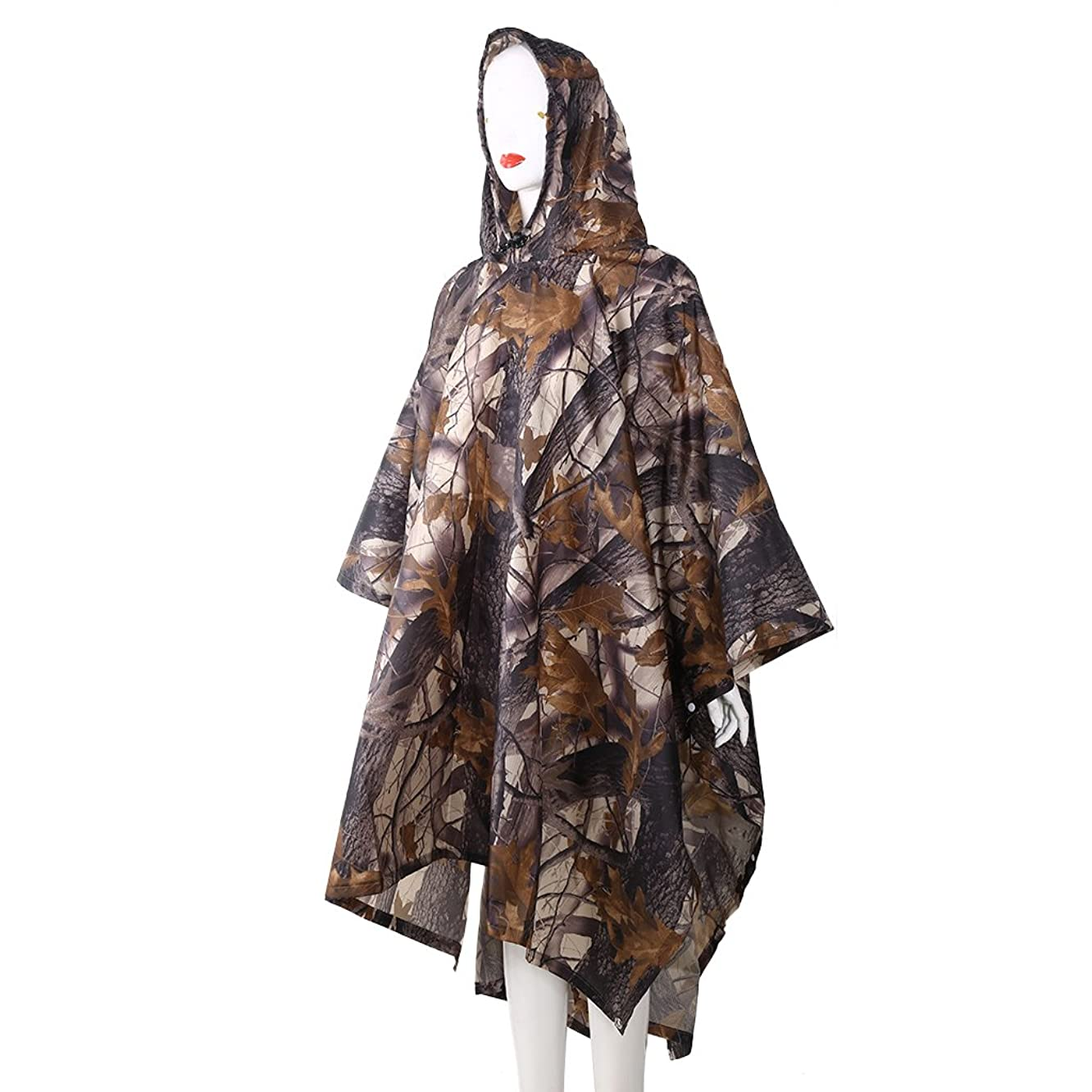 CHBC 3in1 Waterproof Rain Military Camouflage Poncho(Expand Size : 86.6157.09in)/Multifunctional Raincoat - Camping Tent Rain Cover Outdoor with a Easy Carry Bag … (B#)