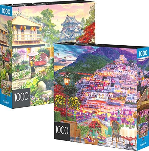 Spin Master Games 6060842 - Juego de 2 Rompecabezas de 1000 Piezas, para Adultos, familias y niños a Partir de 8 años, Costa de Amalfitana y jardín de Japón