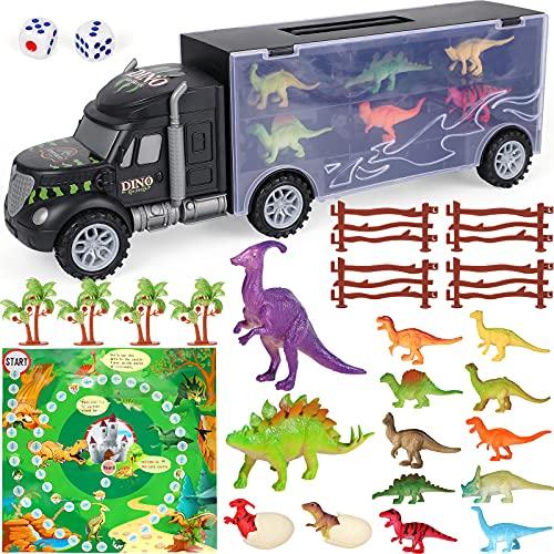 Vamei 28PCs Dinosaurios Juguetes Camión de Transporte Coches con Mino Figuras de Dinosaurio Huevos de Dinosaurio Camion Juguetes Dinosaurios para Niños Juego Dinosaurios Regalos para Niños y Niñas