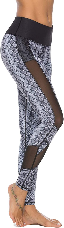 Mint purplec Women's High Waist Printed Yoga Pants FullLength Workout Leggings with Mesh Panel