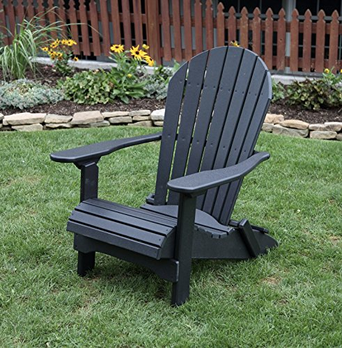 Ecommersify Inc Black-Poly Lumber Folding Adirondack Chair with Rolled Seating Heavy Duty Everlasting Lifetime PolyTuf HDPE - Made in USA - Amish Crafted