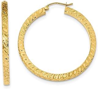 0.01cttw Mia Diamonds 14k Yellow Gold Diamond Fascination Oval Hinged Hoop Earrings 19mm x 2mm