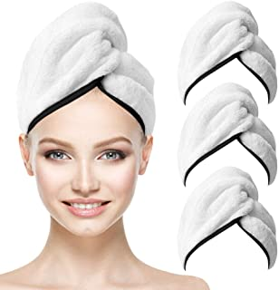 Microfiber Hair Drying Towels with Button 3 Pieces Super Soft Absorbent White Quick Dry Anti-frizz Hair Towel Wraps for Wo...