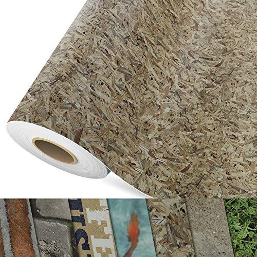 CV Bodenbelag OSB - extra abriebfester PVC Bodenbelag (geschäumt) - Foto-Druck Spanplatte - Oberfläche strukturiert - Meterware (200x100 cm)