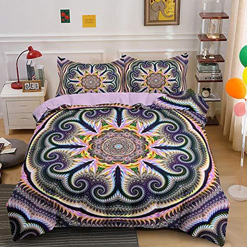 HGFHKL 3D Mandala Flowers 3 Piezas Juego de Cama de Estilo Bohemio Edredón Funda de Almohada Sábana Decoración del hogar Textil 3pcs