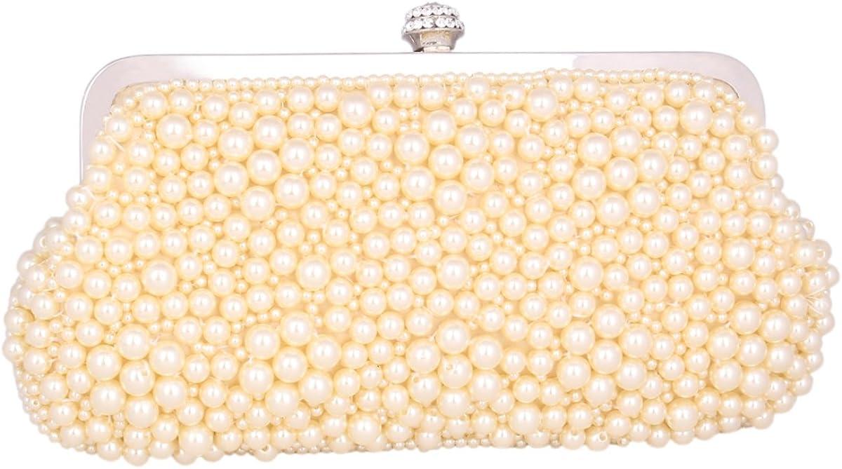 Adoptfade Womens Beaded Evening Clutch Retro Pearl Dinner Bag