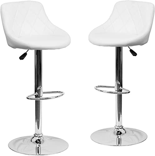 2021 BELLEZE Set high quality of (2) Modern high quality Adjustable Bar Stool Bucket Seat Swivel and Footrest, White outlet sale