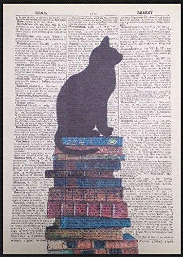 Parksmoonprints Black Cat Silhouette Vintage Dizionario Wall Art Stampa Pagina Decorazione Casa Regalo Amanti Gatti
