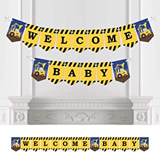 Big Dot of Happiness Construction Truck - Baby Shower Bunting Banner - Construction Party Decorations - Welcome Baby