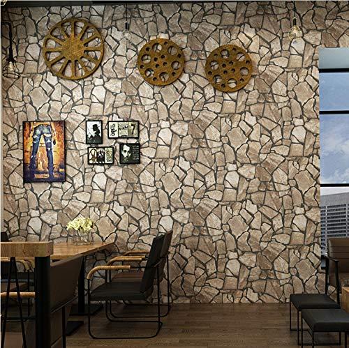 Papel Pintado Moderno de Piedra de la Moda Cafe Barber Shop Papel De Parede 3D Vintage Mármol Papel de Pared Decoración de la Sala 5.3m²
