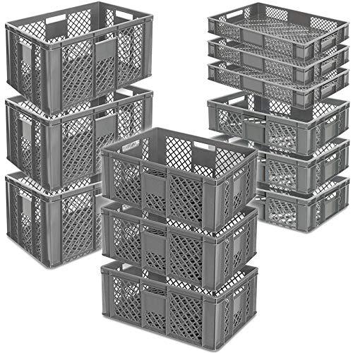 12x Stapelkorb/Bäckerkisten in 4 Größen, Grundmaß LxB 600 x 400 mm, H 90 mm, 150 mm, 240 mm, 320 mm, Farbe grau