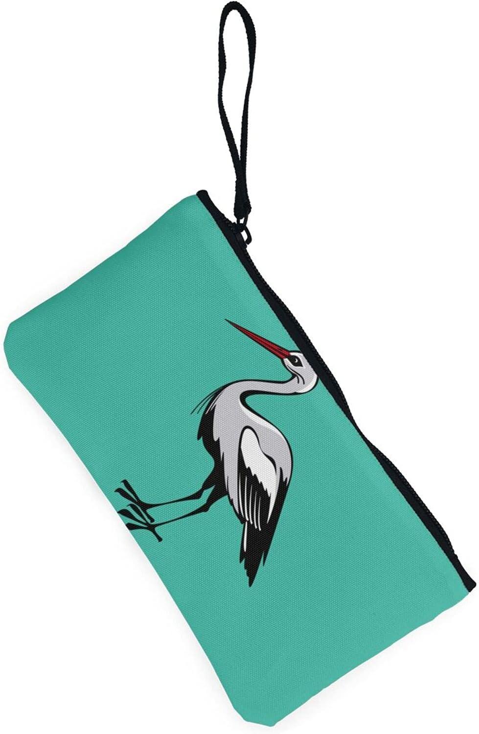 AORRUAM Crane Canvas Coin Purse,Canvas Zipper Pencil Cases,Canvas Change Purse Pouch Mini Wallet Coin Bag