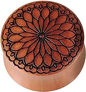 Dilatatore in legno marrone di sawo, con incisione nera, fiore tribale, dilatatore in legno organico con doppia svasatura,...