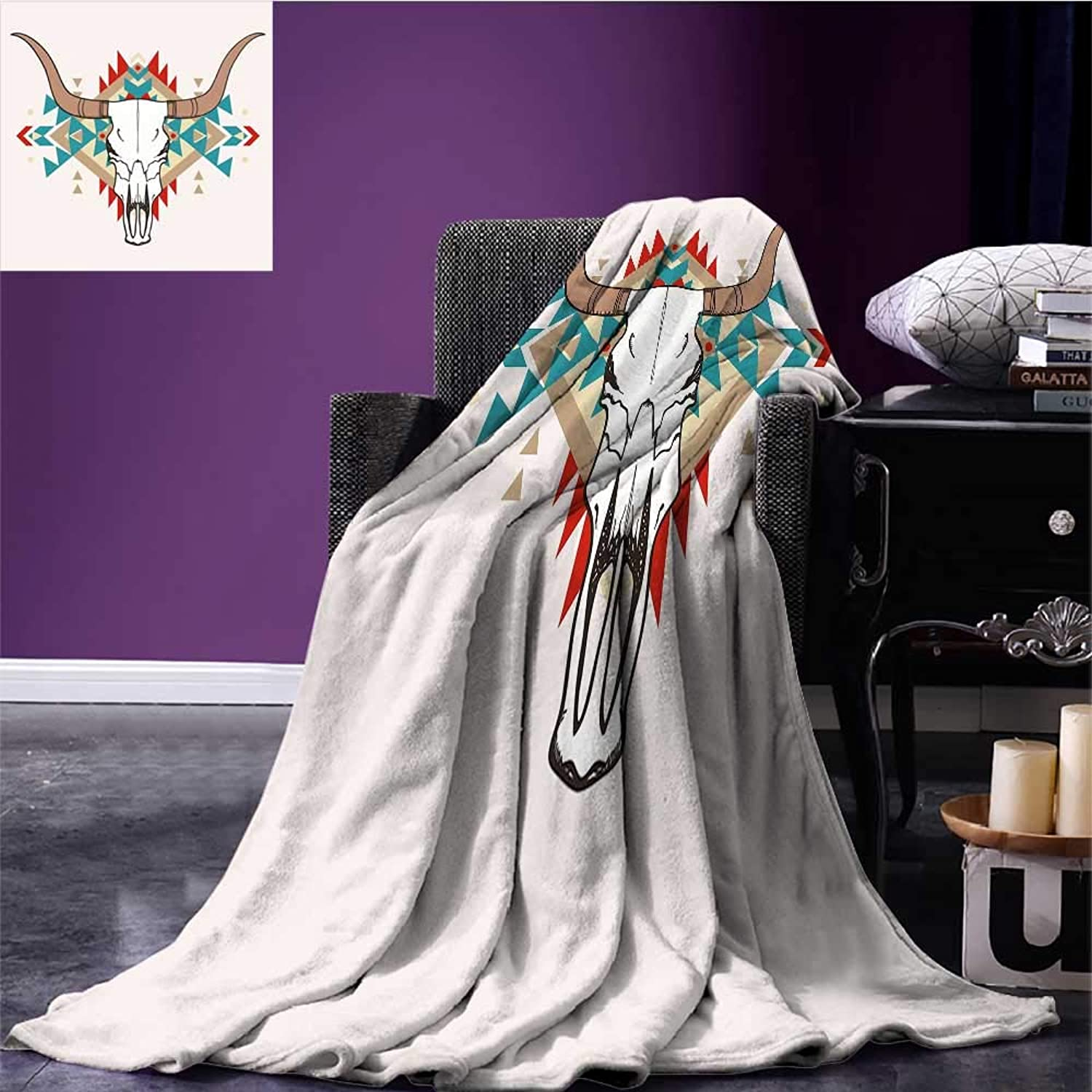 RenteriaDecor Western Printing Blanket Bull Skull Illustration with Ethnic Ornament Tribal Geometric Aztec Style Coverlet Warm Taupe Red bluee Bed or Couch 60 x35