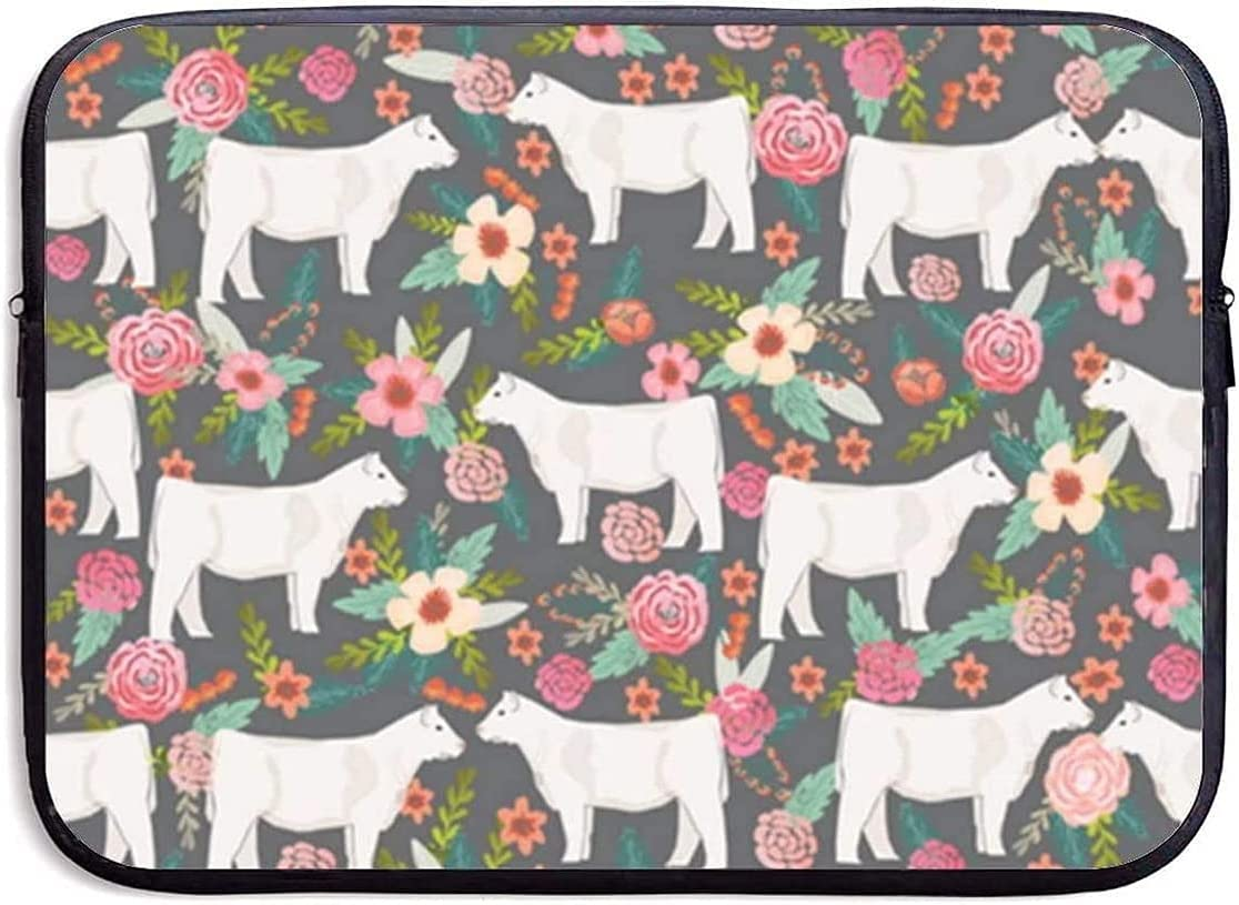 Charolais Cattle Fabric Cows Florals Far Zippe Sleeve Laptop Bag In 1 year warranty a popularity