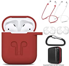 amasing AirPods Case 7 in 1 for Airpods 1&2 Accessories Kits Protective Silicone Cover for Airpod Gen1 2 (Front Led Visible) with 2 Ear Hook /2 Staps/1 Clips Tips Grips/1 Zipper Box Red