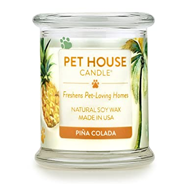 One Fur All 100% Natural Soy Wax Candle, 20 Fragrances - Pet Odor Eliminator, Appx 60 Hrs Burn Time, Non-toxic, Eco-Friendly Reusable Glass Jar Scented Candles – Pet House Candle, Pina Colada