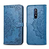 Bear Village Hülle für OnePlus 6, PU Lederhülle Handyhülle für OnePlus 6, Brieftasche Kratzfestes Magnet Handytasche mit Kartenfach, Blau