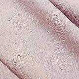 Meterware Stoff Baumwolle Musselin rosa Altrosa Silber