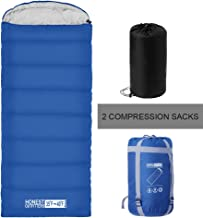 HONEST OUTFITTERS Sleeping Bag with Compression Sack, Envelope Portable and Lightweight for 3-4 Season Camping, Hiking, Traveling, Backpacking and Outdoor Activities (Single)