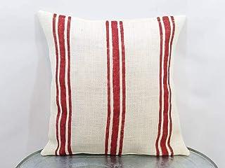 Ethelt5IV Funda de almohada de arpillera natural hecha a medida rústica de color blanco roto y rojo o personalizado de color de grano a rayas