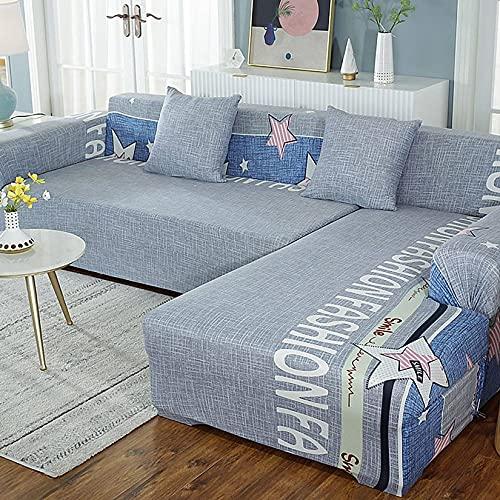 Unmbo Stretch-Sofabezug Für L-Form Bedruckter Sofa-Schutz Aus Weichem Polyester Mit Elastischem Bodenbezug -3 sitzer+3 sitzer-F
