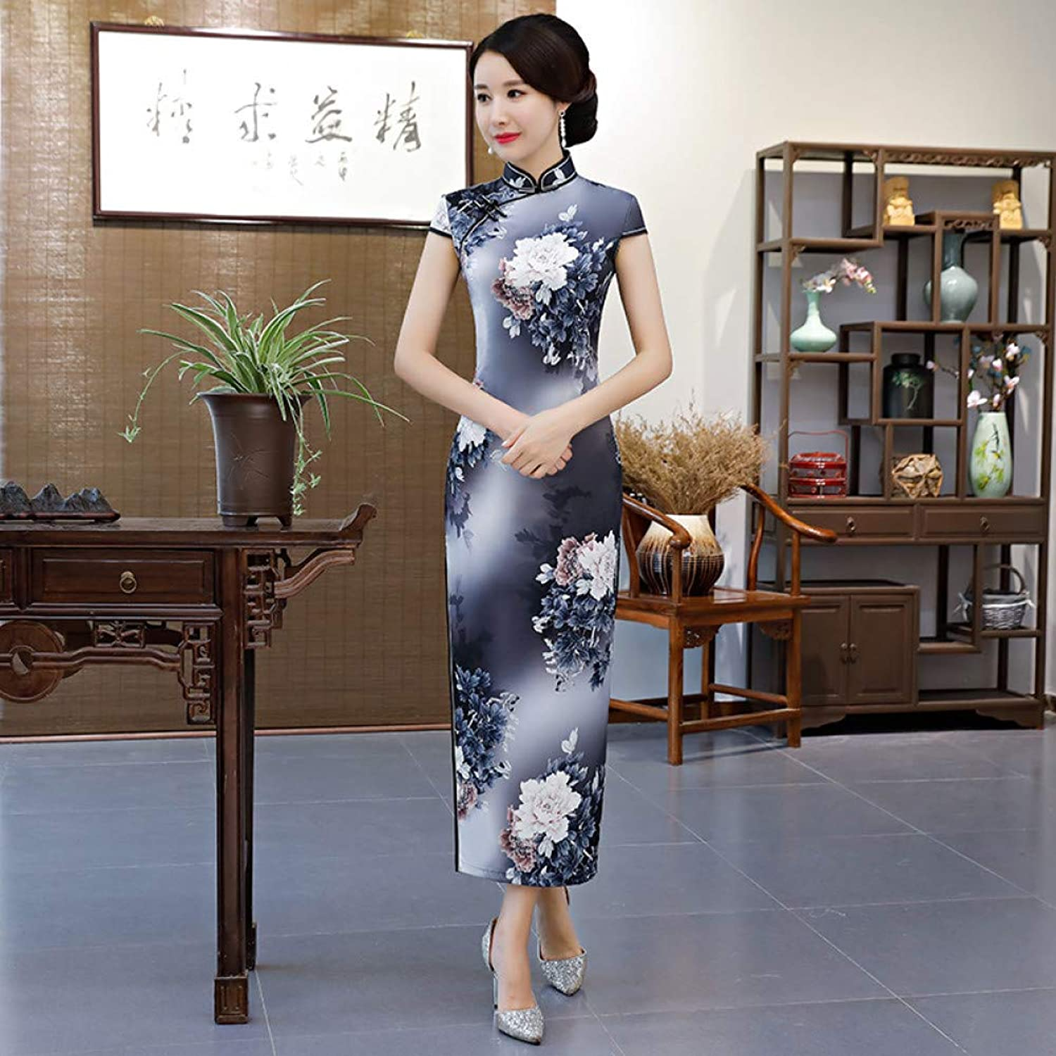 Qingxi Female Autumn Large Size Cheongsam Catwalk Show Improved Version Of The Self-Cultivation Annual Meeting Dress
