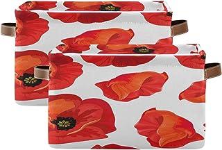 Tropicallife F17 Lot de 2 paniers de rangement pliables en toile avec poignée pour décoration de placard, crèche, bureau, ...