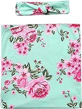 Newborn Receiving Blanket Headband Set Flower Print Baby Nursery Receiving Blankets Photography Prop Swaddle (Green)