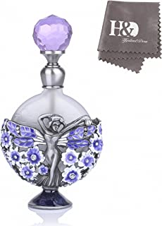 YUFENG Purple Decorative Perfume Bottles Empty Refillable Glass Perfume Bottle Adorned with Metal Angel and Flower Figurine