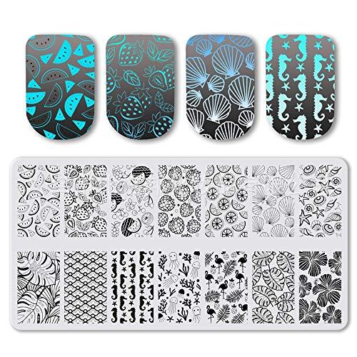 Modèle d'emboutissage d'ongles Carré Nail Art Emboutissage de plaque Manucure Décoration Fruits d'été Thème Feuilles