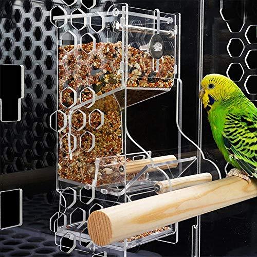 NZHK Fenster Vogelhäuschen, Große Vogel-Haus Mit Abnehmbarem Slid Anzuchtschale 100{981145ad2a832d5e91e94d267b3585f8b3779451d4371e2a4e27a3b668854fd5} Plexiglas Leicht Zu Reinigen Großes Geschenk Für Sittich Kanarischen Cockatiel Finch