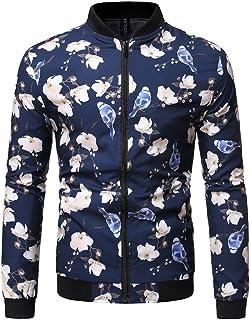UUYUK Men Casual Floral Print Long Sleeve Slim Fit Full Zip Bomber Jacket