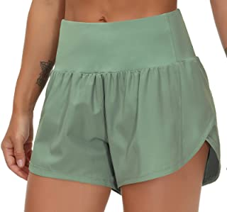 THE GYM PEOPLE Womens High Waisted Running Shorts Quick Dry Athletic Workout Shorts with Mesh Liner Zipper Pockets