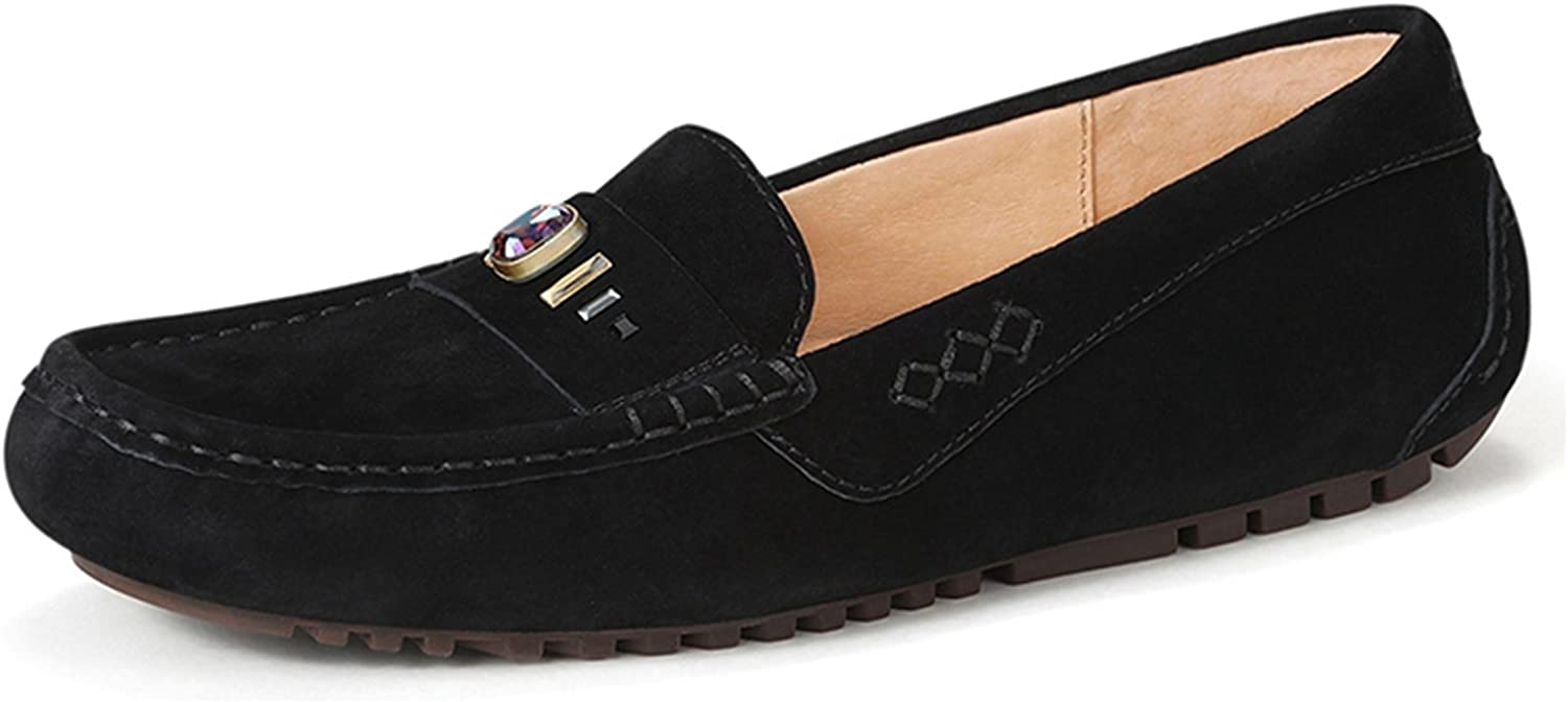 Miyoopark Women's Metallic Stripe Suede Casual Spring Loafers Flats