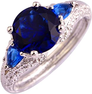 Psiroy Women's 925 Sterling Silver Created Rainbow Topaz Filled Soliatire Anniversary Ring