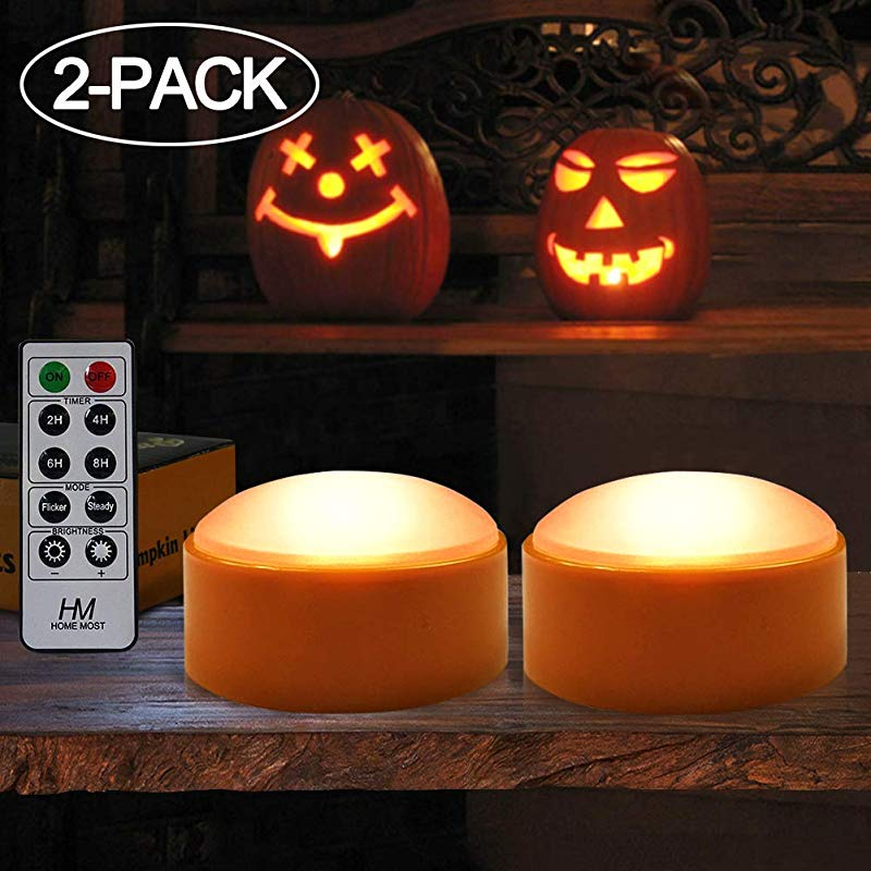 HOME MOST 2 Pack Halloween Pumpkin Lights With Remote Timer Orange Pumpkin Lights LED Battery Operated Halloween Decor Halloween Jack O Lantern Outdoor Pumpkin Decorations LED Lights Halloween