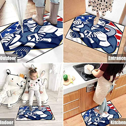 Fireman Polyester Vintage Doormats Ideal for Everywhere American Theme Firefighter 46 x 35 Inches
