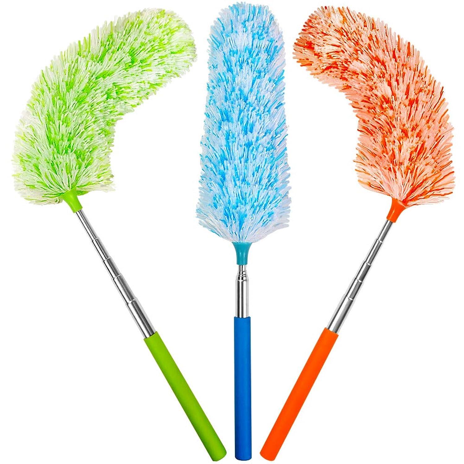 昼間金額粒子ホコリ取りブラシ 伸縮掃除モップ ZHIWHIS マイクロファイバー 360°曲がるモップヘッド 水洗い はたき ダスター ほこり取り 家庭、ワードローブ、車、ラックに適用 3点セット