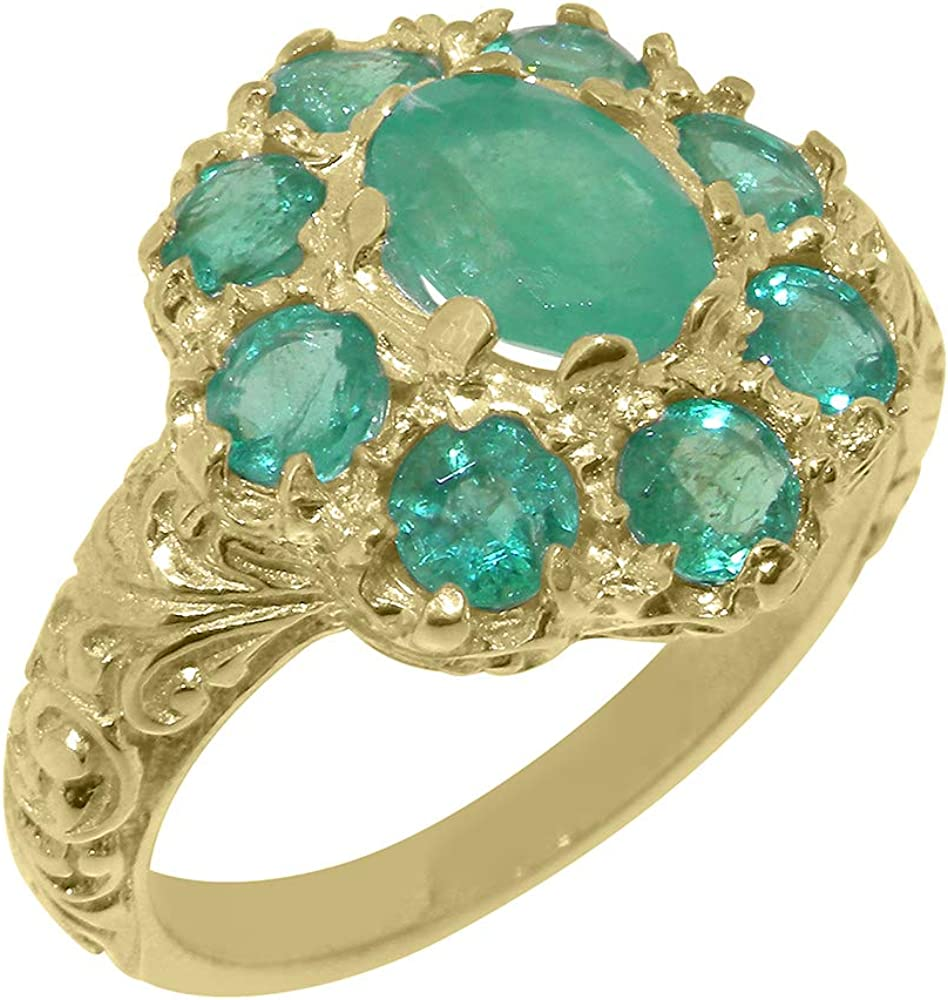 Max 43% OFF Purchase Solid 10k Gold Natural Emerald Womens to Sizes Ring 4 - Cluster