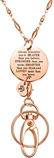 Lanyard Necklace, ID Badge Holder Necklace with Convertable ID Hook and Inspirational Pendant, Good for Employee Id Badges and Keys (Rose Gold)