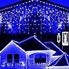 Hezbjiti ツラライルミネーションつららライト5m 160個LED クリスマスライト 防水防雨アイシクルライトUSBリモコン式 軒下やフェンス手すり等に垂らす冬の風物詩フェアリーライト (ブルー)
