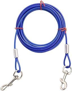 Reekey リード 犬の スチールワイヤロープ 二重頭 金属フック (青) (3メートル)